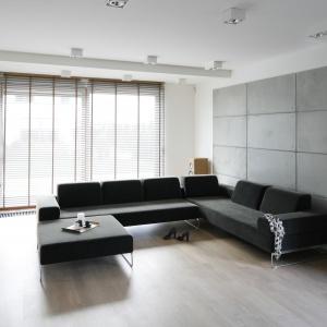 Ścianę w salonie częściowo pokryto betonowymi płytami na tle białej farby. Projekt: Agnieszka Ludwinowska. Fot. Bartosz Jarosz