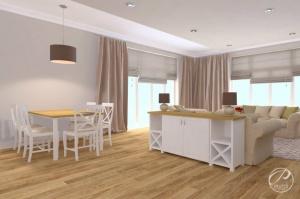 Jedną z zalet dużych domów jest fakt, iż projektanci mają możliwość projektowania przestronnych salonów otwartych na kuchnię i jadalnię.