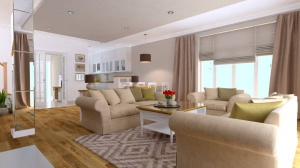 warty, jasny i ciepły salon jest tak zaarananżowany, że zastosowane w nim rozwiązania wręcz zachęcają domowników i gości do długich rozmów.