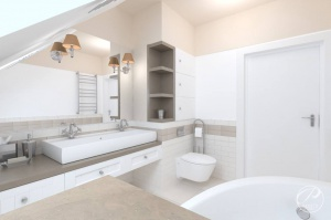 Łazienka w bieli, z odpowiednio zaplanowanymi rozwiązaniami zyskuje na funkcjonalności i  komforcie użytkowania.