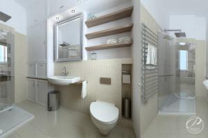 Nowocześnie zaaranżowana łazienka jest przestronna i funkcjonalna.
