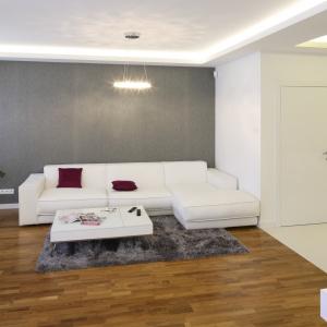 Szara ściana w salonie stanowi efektowne tło dla białych mebli, dobrze też komponuje się z drewnianą podłogą,  która ociepla wnętrze. Projekt: Agnieszka Hajdas-Obajtek. Fot. Bartosz Jarosz