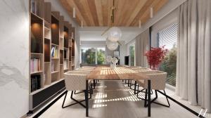 Dom z marmurem i drewnem