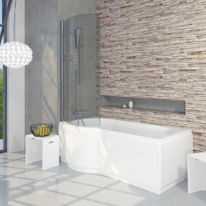 Wanna akrylowa Dorado marki Riho - z parawanem i obudową - pozwoli na stworzenie wygodnej i komfortowej strefy prysznica. Rozwiązanie to sprawdzi się i w dużych i w małych łazienkach. W tych drugich pozwoli zaoszczędzić przestrzeń dzięki opcji 2w1. Fot. Riho.