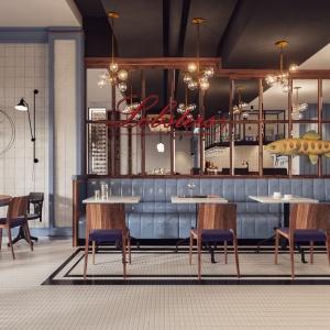 Restauracja Seafood Station w Sopocie. Proj. Jan Sikora/Sikora Wnętrza.