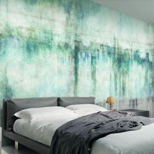 Tapeta Hypnotic wprowadza do wnętrza różne odcienie w niebiesko-zielonej palecie. Fot. Glamora