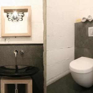 Łazienka dla gości w stylu loftowym: zamiast płytek wykorzystano dekoracyjny tynk o surowej powierzchni. Projekt: Jarosław Jończyk.  Fot. Bartosz Jarosz