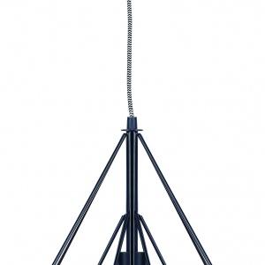 Czarna wisząca lampa Antwerp wykonana z metalu, zawieszana na kablu materiałowym o regulowanej długości. Metalowe pręty układają się w geometryczną mozaikę. It's All About RoMi/Dutchhouse.pl