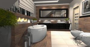 Projekt dużej łazienki na poddaszu, z wolnostojącą wanną oraz kabiną prysznicową.