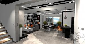 Projekt nowoczesnego, minimalistycznego salonu