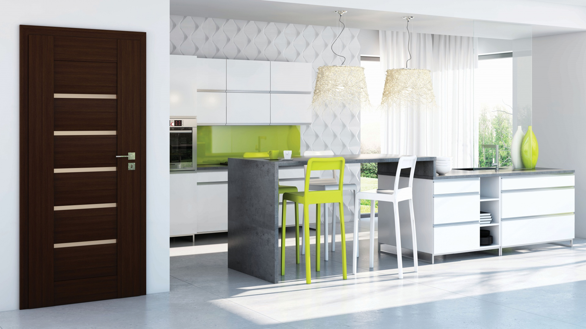 Drzwi Sempre Lux to klasyczne wydanie nowoczesnych drzwi. Naturalny fornir pokryty specjalnym lakierem UV doda blasku elegancko urządzonym wnętrzom. Fot. Pol-Skone