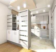 Kompozycja półek i witryny oddziela kuchnię od salonu