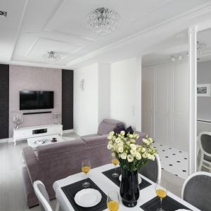 Małe mieszkanie urządzone w stylu glamour; w salonie dominują odcienie zgaszonego różu, w jadalni - czerń i biel. Projekt: Katarzyna Mikulska-Sękalska. Fot. Bartosz Jarosz
