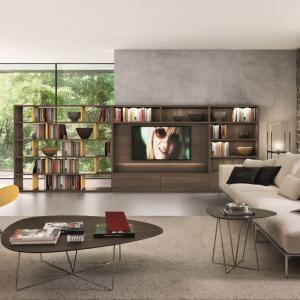 Ażurowa konstrukcja łączy się z meblami RTV, pokrywa częściowo ścianę w salonie, a częściowo sama staje się ścianką działową. Fot. Euromobil Group