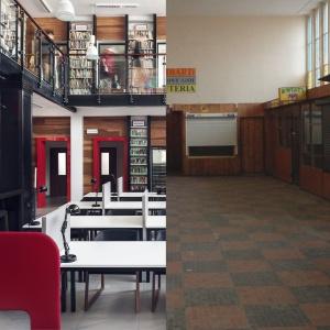 Stacja Kultury w Rumi. Widok przed i po metamorfozie. Proj. wnętrza jan Sikora/Sikora Wnętrza