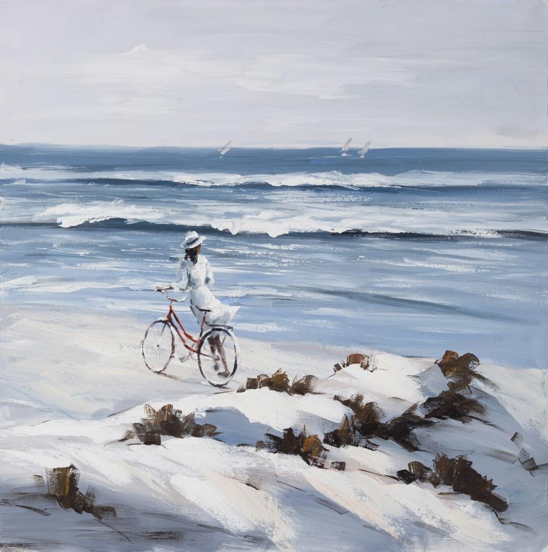 Elegancki obraz dekoracyjny przedstawiający kobietę spacerującą po plaży będzie świetnym urozmaiceniem każdego wnętrza. Fot. Eurofirany