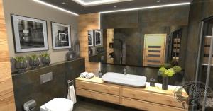 Projekt łazienki z sauną w drewnie