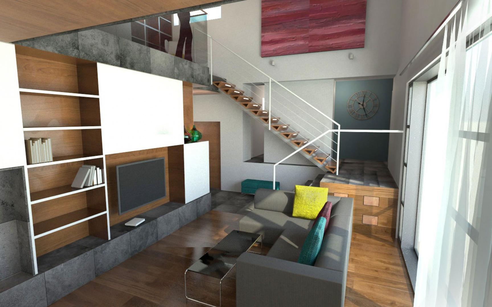Projekt nowoczesnego, współczesnego wnętrza domu jednorodzinnego dla młodego małżeństwa z kilkuletnim dzieckiem. Projekt Michał Hoffmann.jpg