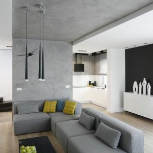 Nowoczesny minimalistyczny salon urządzono tak, aby najmocniejszym dekoracyjnym aspektem stał się sam kącik wypoczynkowy. Wyznacza go pas betonowej szarości idący od ścianki działowej przez sufit. Projekt: Karolina Stanek-Szadujko, Łukasz Szadujko. Fot. Bartosz Jarosz