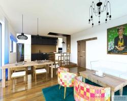 Kuchnia, jadalnia i salon w stylu eklektycznym