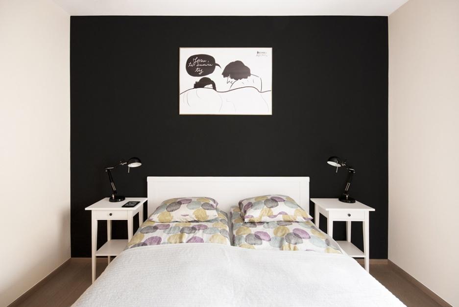 Realizacja Architekta Minimalistyczna Czarno Biała Sypialnia