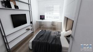 Nowoczesna duża kawalerka typu studio, na wynajem w Katowicach - sypialnia