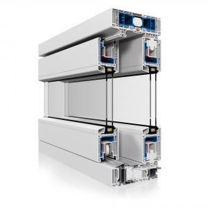 Przekrój tarasowych drzwi przesuwnych HST. Komory i właściwe wypełnienia zwiększają termoizolacyjność okna. Fot. Dako