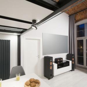 Ciekawym rozwiązaniem jest duży ekran zastępujący tradycyjny telewizor. Wyświetlane są na nim filmy z projektora zamontowanego na przeciwległej ścianie. Projekt: Szymon Chudy. Fot. Bartosz Jarosz