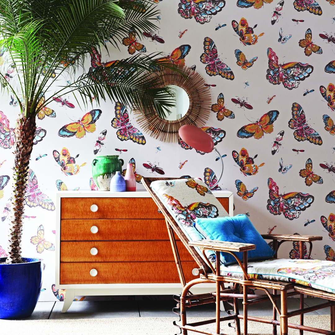 Tapeta Butterfly House z kolorowymi, egzotycznymi motylami. Fot. Jim Thompson