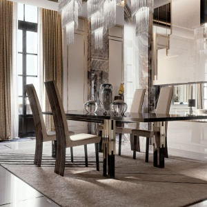 Stół Belle Epoque marki Reflex z hebanowym blatem o grubości 40 mm i błyszczącymi, lakierowanymi nogami zdobionymi złotymi elementami. Fot. Galeria Heban