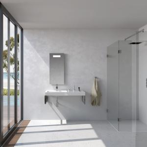 Umywalka z praktycznym blatem to model z kolekcji Bologna marki Riho. Świetnie sprawdzi się w nowoczesnych, minimalistycznych aranżacjach. Fot. Riho.