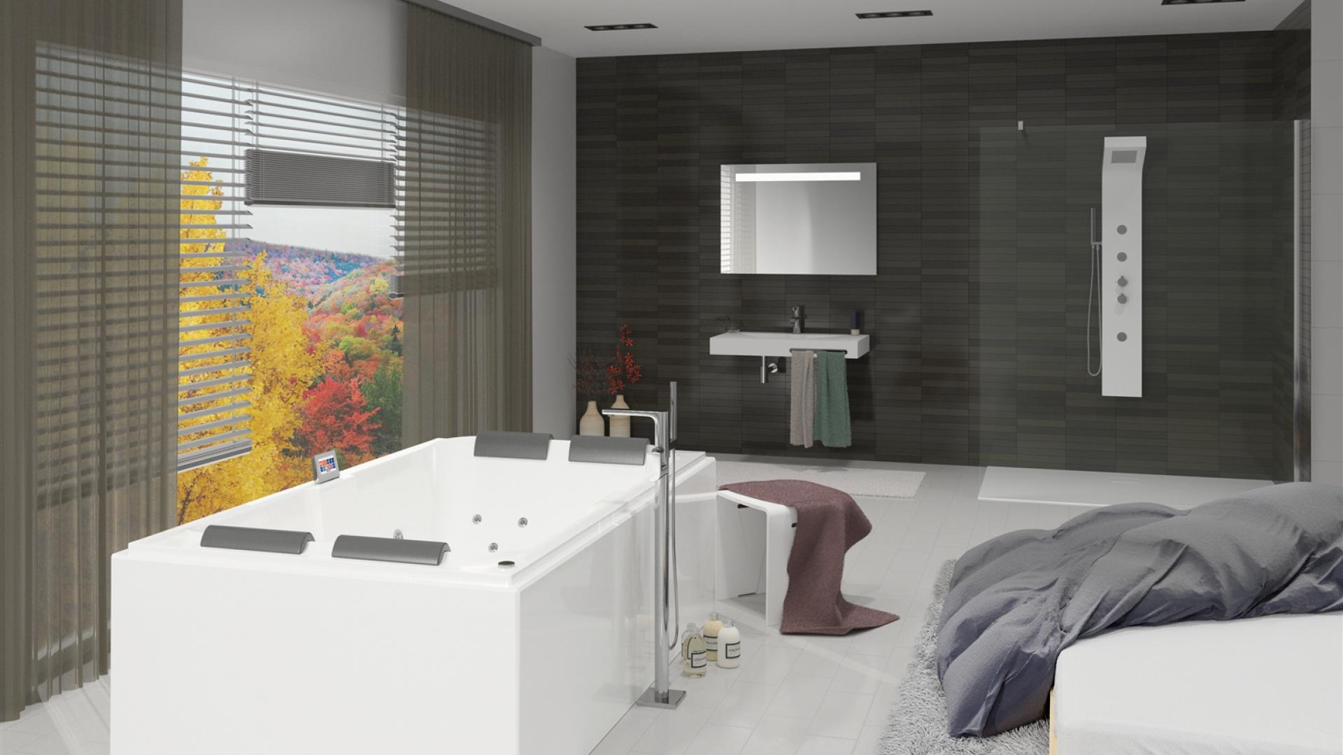 Laura to kilkuosobowa wanna z hydromasażem, która idealnie sprawdzi się w nowoczesnej łazience, a jednocześnie da nam prawdziwy komfort w stylu spa. Proste linie wanny zapewnią spokojną atmosferę w łazience. 6 potężnych maksidysz Hydro oraz 12 minidysz umożliwia korzystanie z dobrodziejstw hydromasażu więcej niż jednej osobie jednocześnie. Fot. Riho.