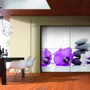 Drzwi z nadrukiem kwiatów na szkle. Fot. Komandor
