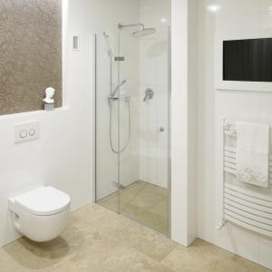 Prysznic we wnęce, zamkniętej pojedynczymi drzwiami przedłużonymi wąską szklaną ścianką. Projekt: Piotr Stanisz. Fot. Bartosz Jarosz
