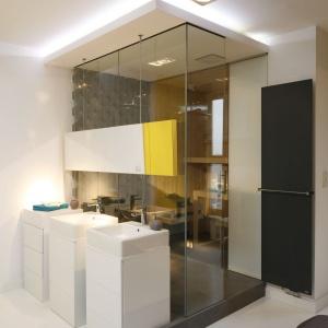 Strefa łazienki współgra estetycznie z sypialnią. Proj. wnętrza Monika i Adam Bronikowscy, Hola Design. Fot. Bartosz Jarosz.