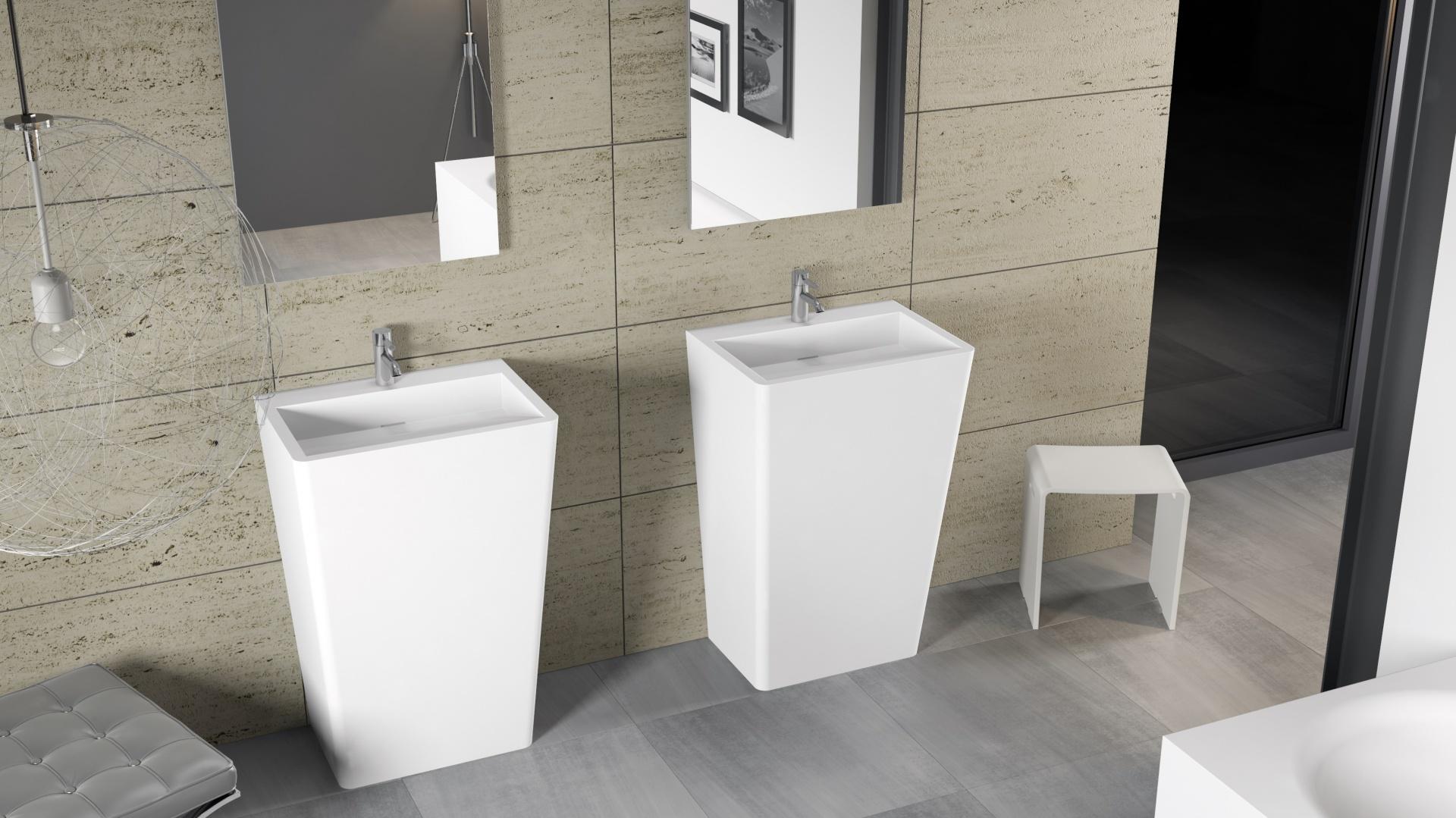 Umywalka wolnostojąca Dijon z serii Solid Surface marki Riho - jej prosty geometryczny kształt świetnie sprawdzi się w nowoczesnych wnętrzach. Fot. Riho.