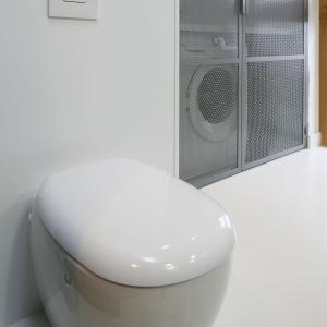 Podwieszane wc jest rozwiązaniem zarówno praktycznym, jak i estetycznym. Proj. wnętrza Monika i Adam Bronikowscy, Hola Design. Fot. Bartosz Jarosz.
