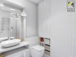 Dwupoziomowe mieszkanie w Głogowie zaprojektowane przez pracownię Kreska. Studio Projektowania Wnętrz