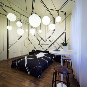 Wnętrze pokoju hostelowego Patria w Katowicach. Fot. Kolektyw Musk.