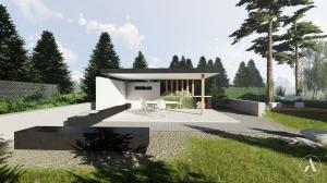 Projekt nowoczesnej, minimalistycznej altany