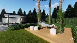 Projekt tarasu z kompozytu z zaaranżowanym miejscem na hamak