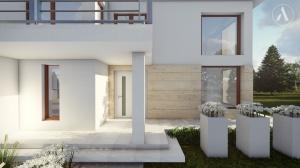 Ujęcie na front domu, schody oraz taras z płyt trawertynowych firmy Libet