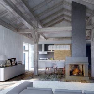 Salon w domu z odsłoniętą więźbą dachową i dużą dawka naturalnego słońca nabiera wyjątkowego charakteru. Proj. N12, Fot. S&O Projekty Sylwii Strzeleckiej