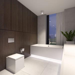Płytki o strukturze i kolorze drewna ocieplają nowoczesną łazienkę.