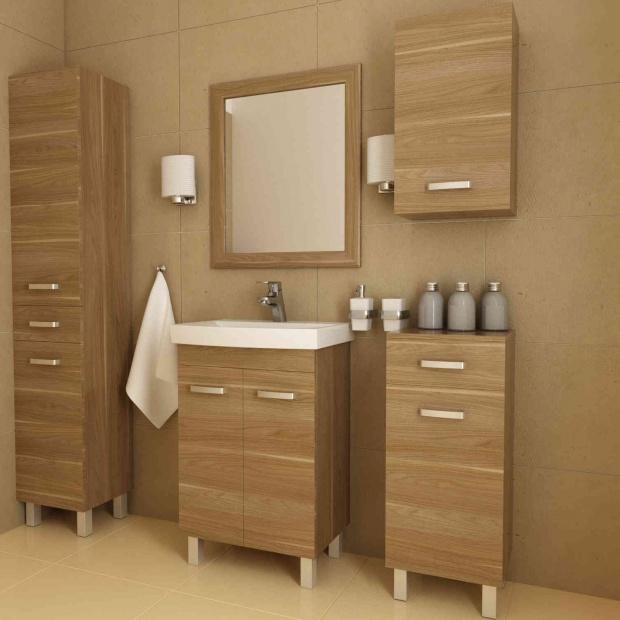 Meble do łazienki. Zobacz propozycje z ciemnym drewnem