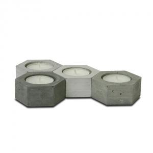 Komplet 4 betonowych świeczników Jakuba Velinskiego Hexagon. Cena:  ok. 159zł. Fot. Bonami.pl