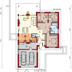 Rzut parteru: 1. Wiatrołap 4.32 m2 2. Hol + schody 14.40 m2 3. Kuchnia 11.00 m2 4. Spiżarnia 2.34 m2 5. Pokój dzienny 34.08 m2 6. Toaleta 1.54 m2 7. Korytarz 6.24 m2 8. Sypialnia 15.19 m2 9. Sypialnia 10.49 m2 10. Sypialnia 9.22 m2 11. Łazienka 7.57 m2 12. Kotłownia 11.19 m2 13. Garaż 31.75 m2