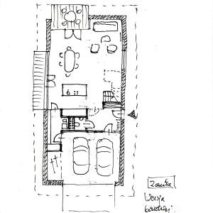 Rzut parteru - wersja z garazęm na 2 auta, bardziej otwarta. Grafika: Robert Konieczny
