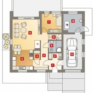 PARTER: 1. wiatrołap - 3,30 2. garderoba - 1,90 3. hol - 8,40 4. spiżarnia - 1,30 5. kuchnia - 10,70 6. salon - 21,60 7. pokój - 9,70 8. schody - 3,50 9. łazienka - 3,40 10. kotłownia* - 8,90 11. garaż* - 17,30 *pomieszczenia niewliczone do powierzchni użytkowej