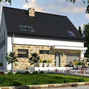 Projekt Bernikla II to dom jednorodzinny zaprojektowany dla 4-5 osobowej rodziny. Dom posiada na parterze obszerny salon z kominkiem, kuchnię ze spiżarnią, dużą łazienkę oraz wygodny gabinet. W części wejściowej zaprojektowano dużą garderobę dostępna z wiatrołapu. Projekt: arch. Maja Klimowicz, Fot. Archeco Dom dla Ciebie